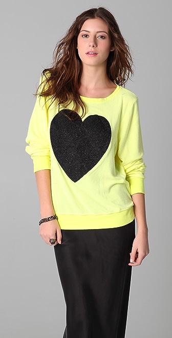 Wildfox Black Sparkle Heart Baggy Beach Sweatshirt