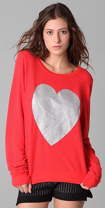 Wildfox Silver Sparkle Heart Baggy Beach Sweatshirt
