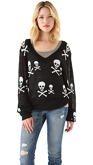 Wildfox Knight Hood V Neck Sweater