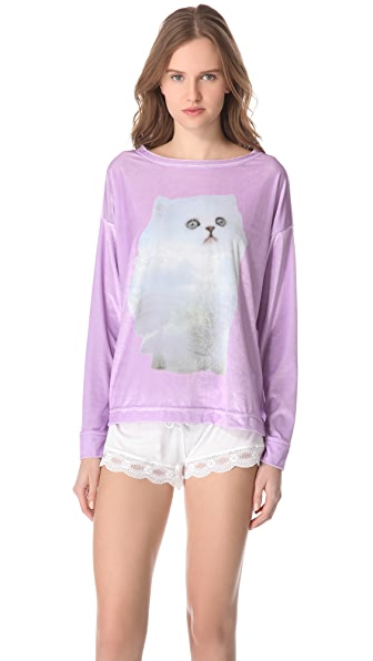 Wildfox Cloud Kitten Pajama Top