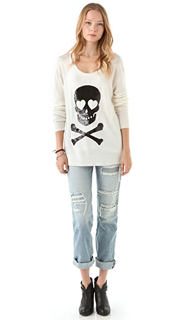 Wildfox Sequin Love Skull Sweater