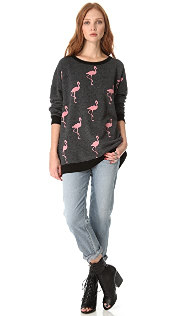 Wildfox Pack of Flamingos Barefoot Sweater