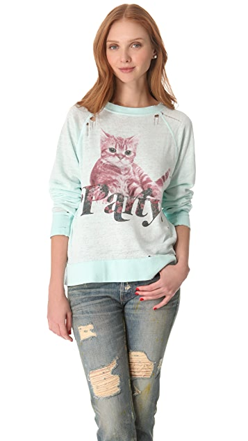 Wildfox Party Cat Destroyed Sweater