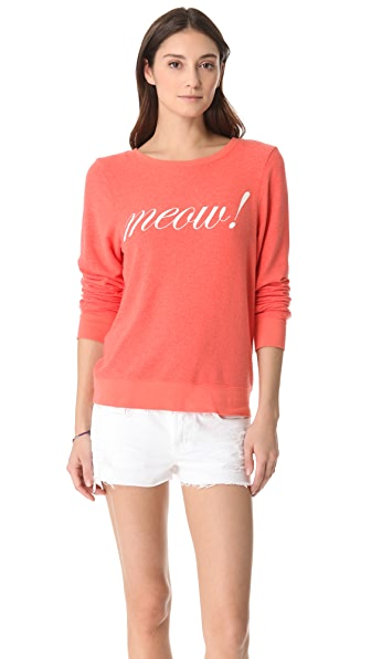 Wildfox Meow! Baggy Beach Sweatshirt