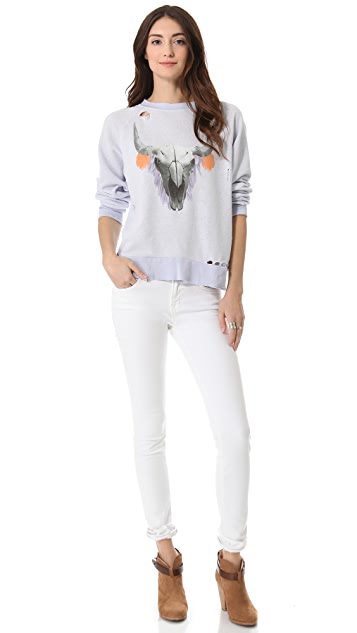 Wildfox Cherie Skull Destroyed Sweater