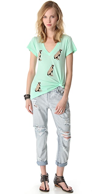 Wildfox Leopard Lover V Neck Tee