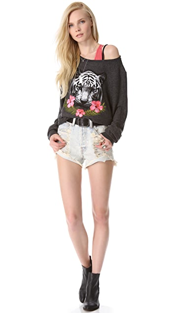 Wildfox Tropical Tiger Baggy Beach Sweatshirt