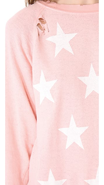 Wildfox Starshine Destroyed Sweatshirt