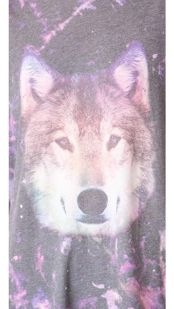 Wildfox Night Wolf Oversized Tee