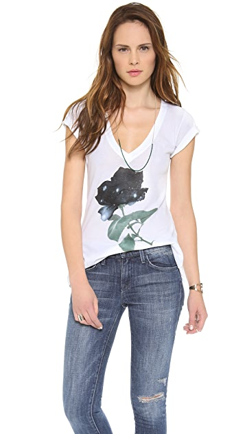 Wildfox Space Rose V Neck Tee