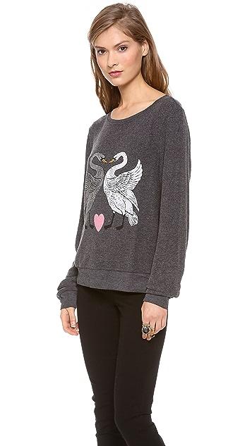 Wildfox Kissing Swans Baggy Beach Sweatshirt