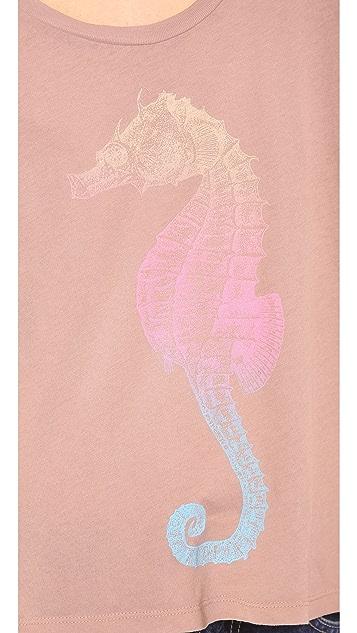 Wildfox Rainbow Seahorse Long Sleeve Tee