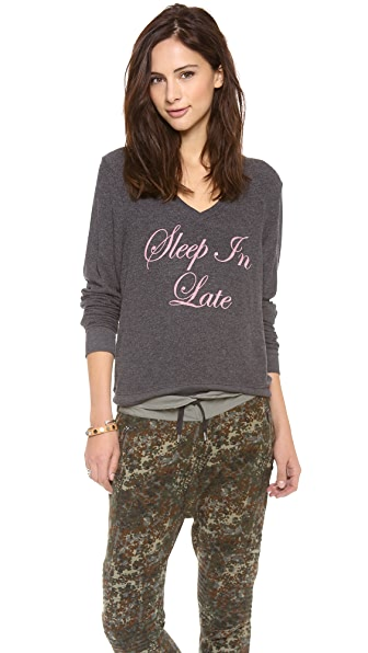 Wildfox Sleep In Late Baggy V Neck Top