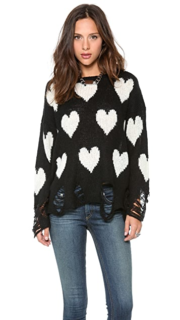 Wildfox All Over Love Loose Knit Sweater