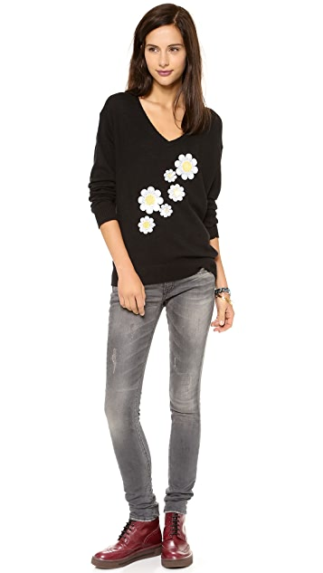 Wildfox Daisy Sash V Neck Sweater