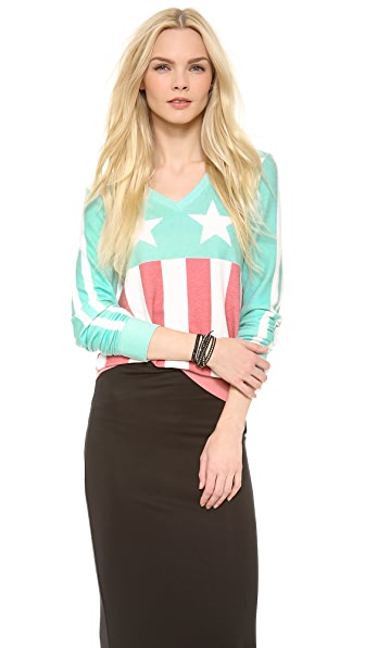 Wildfox Stars & Stripes Baggy Beach Sweatshirt