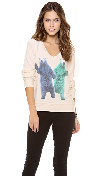 Wildfox Hello Polar Bears Baggy Beach Sweatshirt