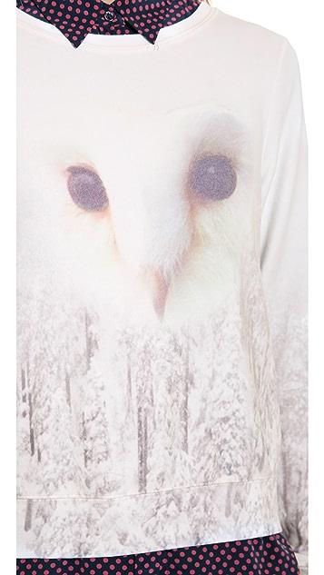 Wildfox Snowy Forest Owl Baggy Beach Sweatshirt