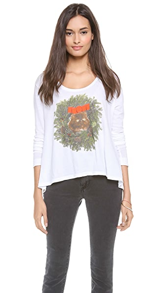 Wildfox Kitty Wreath Long Sleeve Top