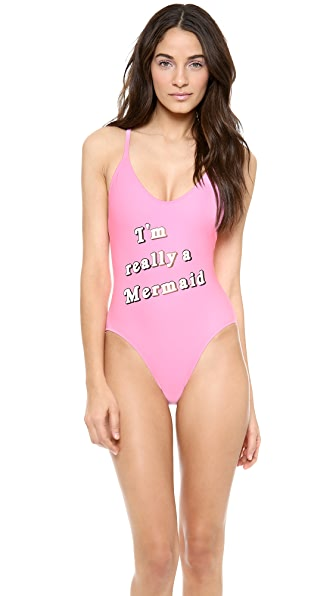 Wildfox I'm Really a Mermaid One Piece Swimsuit