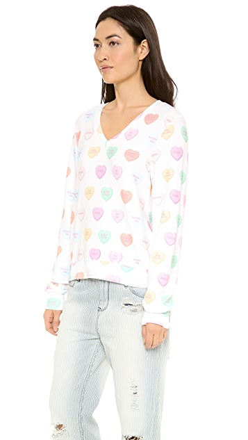 Wildfox Sweet Heart Baggy Beach Jumper