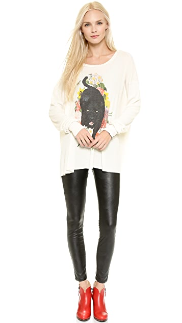 Wildfox Panther Prowl Long Sleeve Thermal Tee