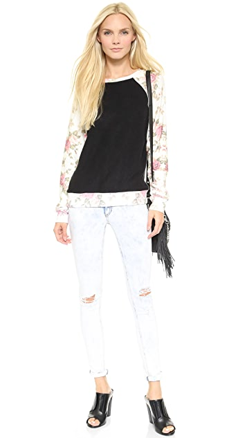 Wildfox Black Rose Sleeves Sweatshirt