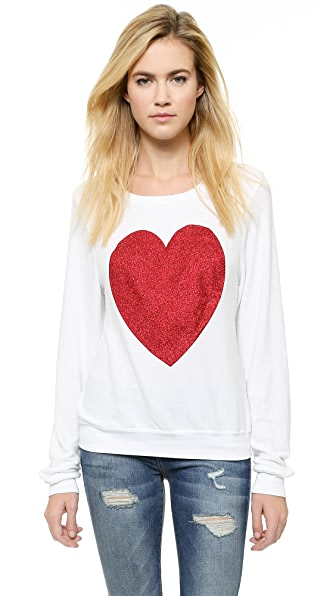 Wildfox Sparkle Heart Baggy Beach Pullover - Clean White