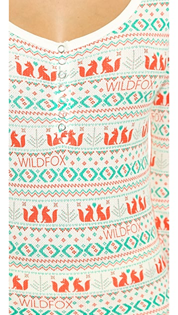 Wildfox Ski Bunny Fox Print PJ Set