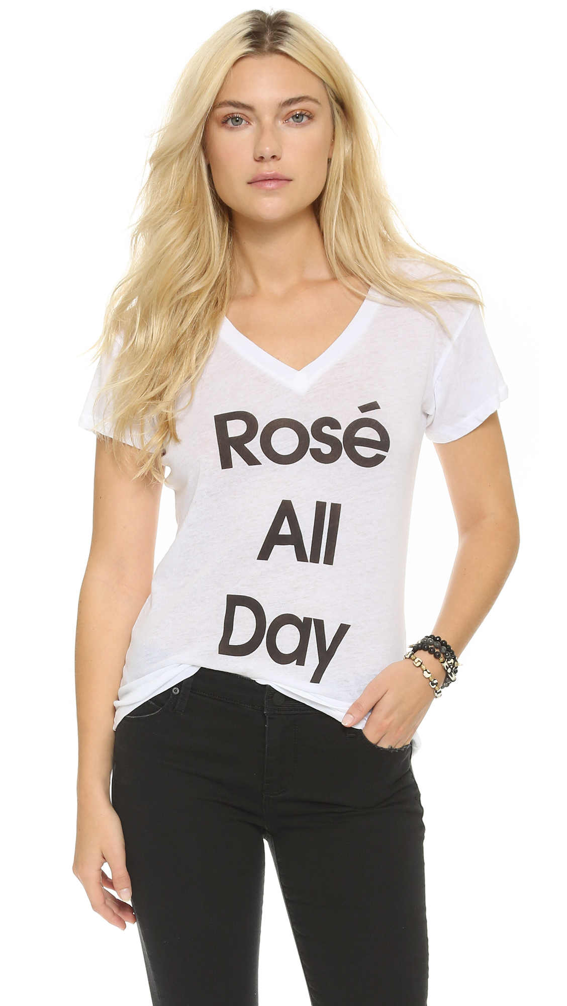 Wildfox Rose All Day Easy Tee In Clean White