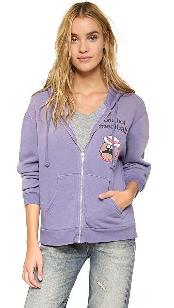Wildfox Hot Meatball Love Story Zip Hoodie