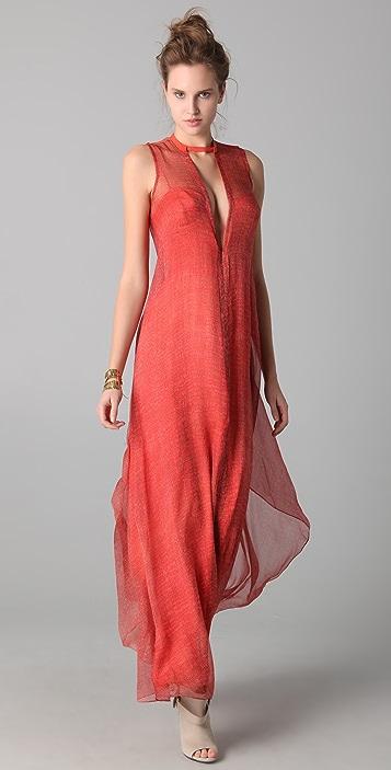 Willow Print Plunge Maxi Dress