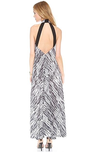 Willow Print Plunge Back Maxi Dress