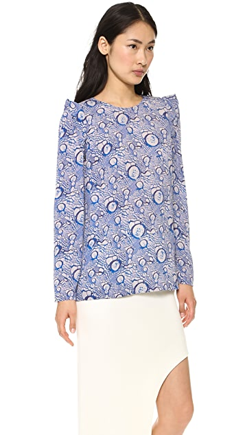 Willow Long Sleeve Print Silk Top