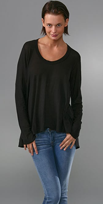 Wilt Tissue Jersey Hi Lo Tunic with Long Sleeves