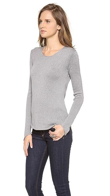 Wilt Long Sleeve Shrunken Shirt Tail Top
