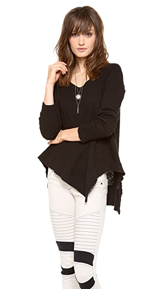 Wilt Long Sleeve Uneven V Neck Top