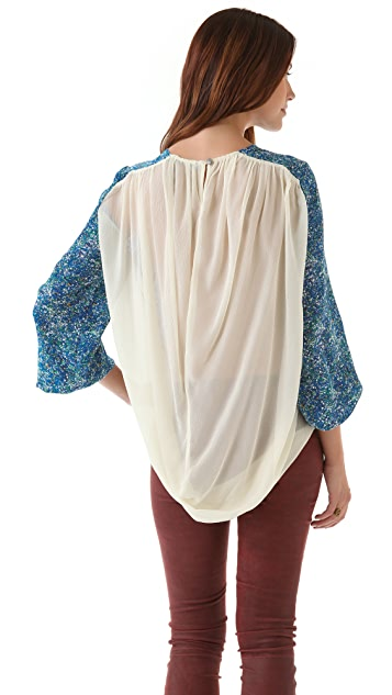 Winter Kate Bell Sleeve Top with Chiffon Panel