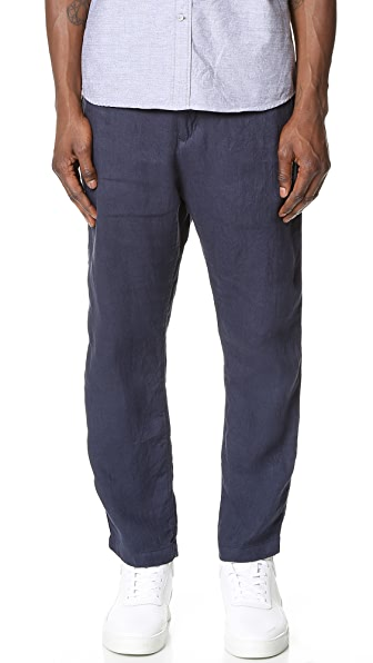 White Mountaineering Linen Herringbone Easy Tapered Pants