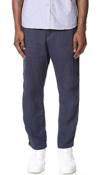 White Mountaineering Linen Herringbone Easy Tapered Pants