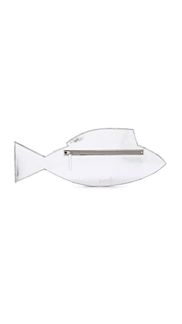 Yazbukey Donna Sardina Mirror Leather and Plexi Fish Clutch