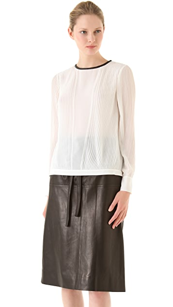 Yigal Azrouel Pleated Chiffon Top