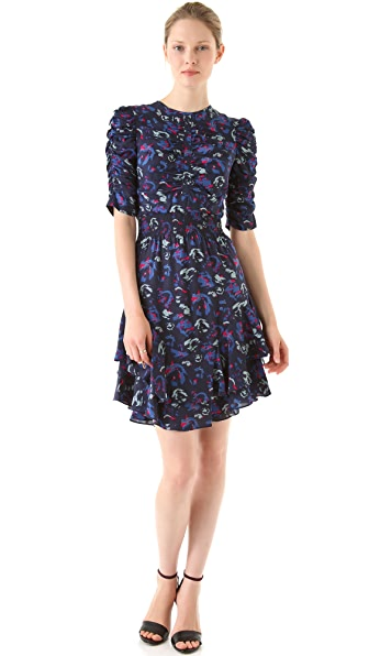 Yigal Azrouel Ikat Floral Silk Crepe Dress