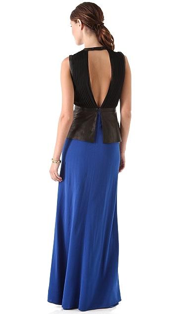 Yigal Azrouel Crepe Peplum Maxi Dress