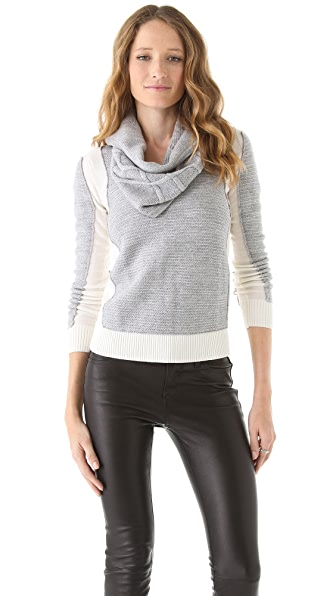 Yigal Azrouel Two Tone Sweater with Snood