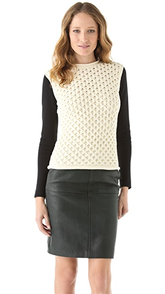 Yigal Azrouel Honeycomb Sweater with Contrast Sleeves