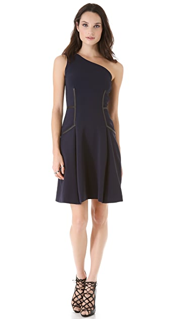 Yigal Azrouel Leather Trim Cocktail Dress