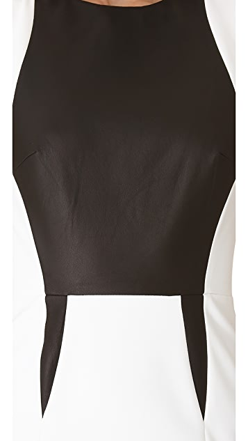 Yigal Azrouel Bi Stretch Tech Dress with Leather Trim