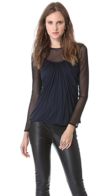 Yigal Azrouel Jersey Top with Mesh Combo