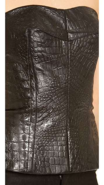 Yigal Azrouel Reptile Leather Bustier